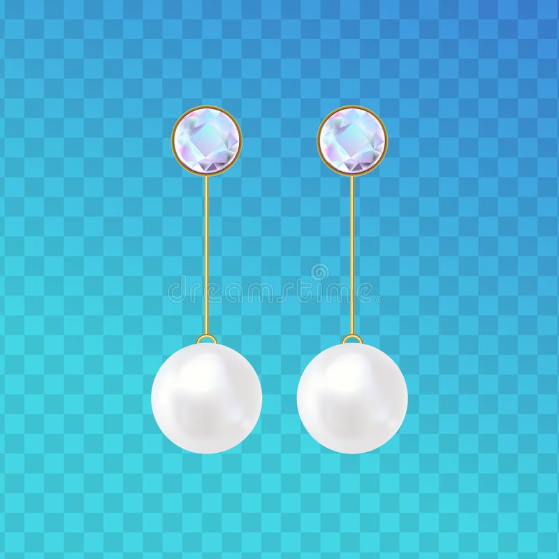 Earrings with pearl beads and diamond. vector illustration