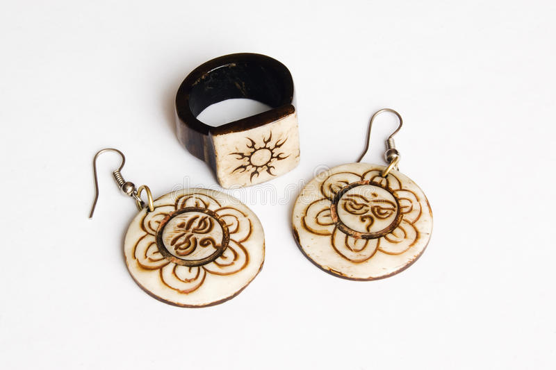 Earrings with a ring royalty free stock images
