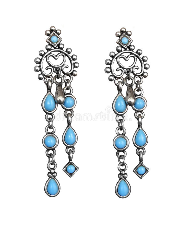 Download Earrings with turquoise stock photo. Image of silver - 13319070