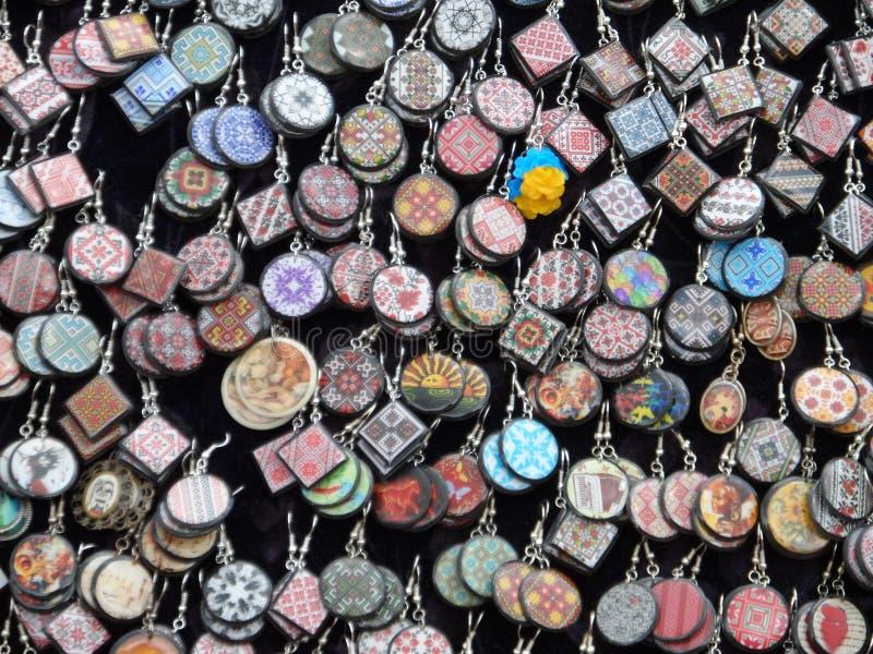 Earrings in Ukrainian style royalty free stock image