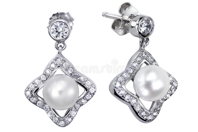 Download Earrings With Zircon And Expensive Big Pearl Stock Photo - Image: 9864634