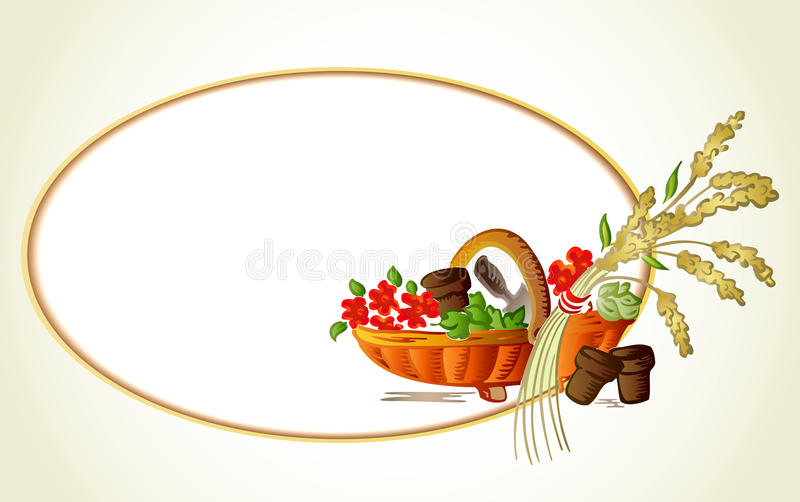 Ears of wheat, flowers in the basket. Vector card royalty free illustration