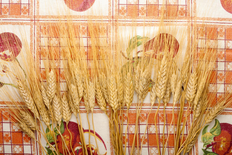 Download Ears Of Wheat On Tablecloth Stock Photo - Image: 13390408