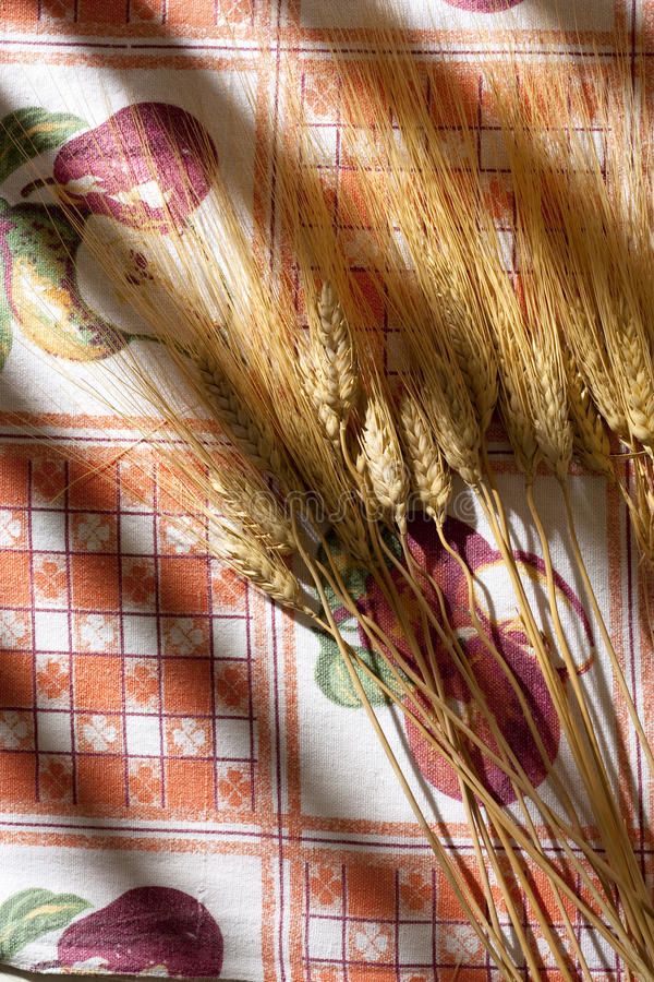Ears Of Wheat On Tablecloth Stock Photography