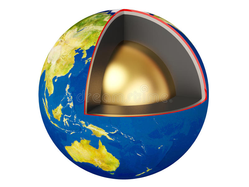 Earth. Blue earth with gold core stock illustration