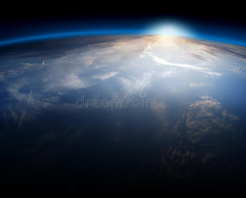 Earth. Planet Earth Space Global View and Sun in the Background