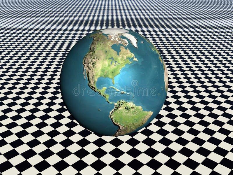 Earth. Bryce creation, a world globe, earth on a grid background