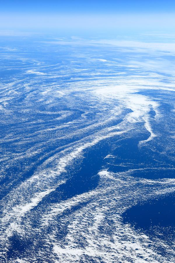 The Earth from above: Floating sea ice caught in marine currents. Off the eastern coast of Canada stock photography