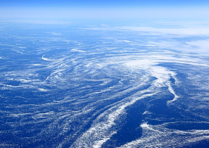 The Earth from above: Floating sea ice caught in marine currents. Off the eastern coast of Canada stock photo