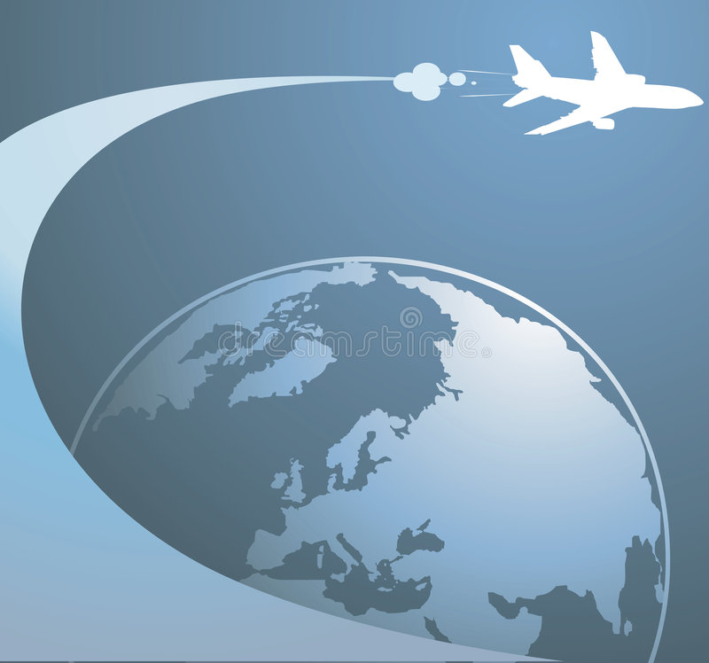 Earth and aeroplane vector illustration