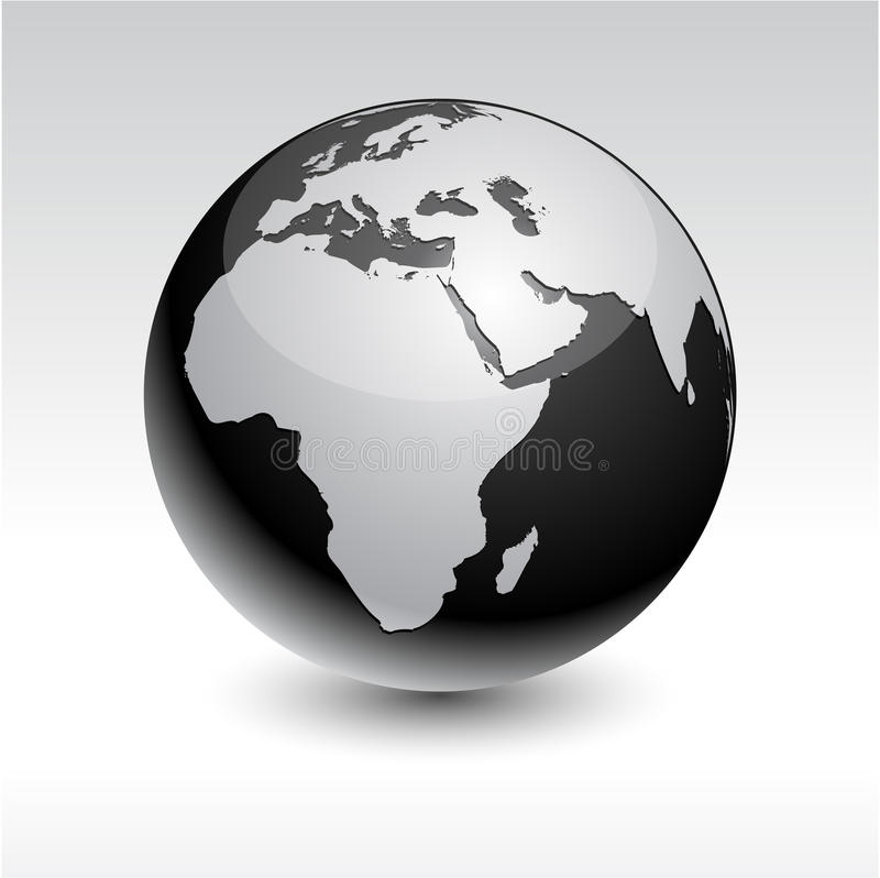 Earth - Africa. Black high-detailed earth ball. Vector royalty free illustration
