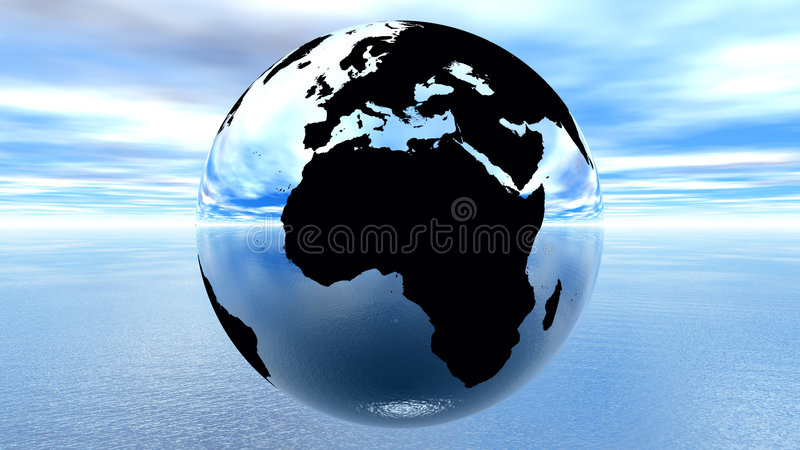 Earth against blue sky on water royalty free illustration