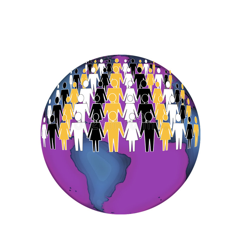 Earth for all. People of different races and religions living togrther in peace and harmony vector illustration