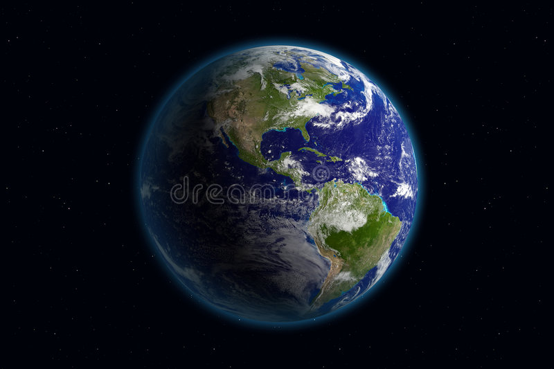 Earth - America & Clouds royalty free stock image