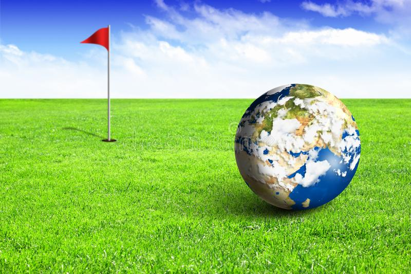 Earth as ball on golf field, concept royalty free stock photography