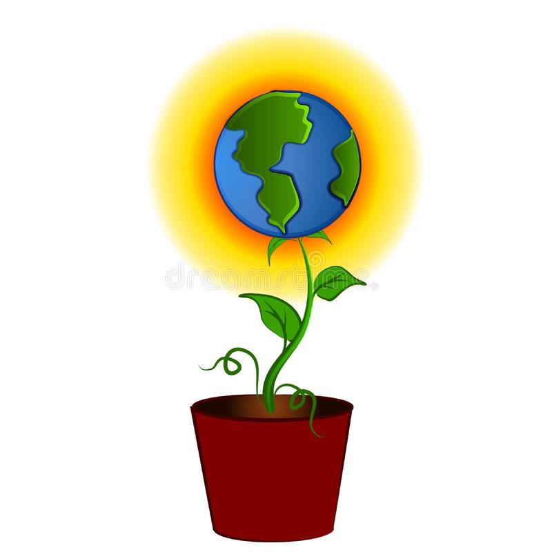 Earth as Flower In Pot Clipart royalty free stock photos