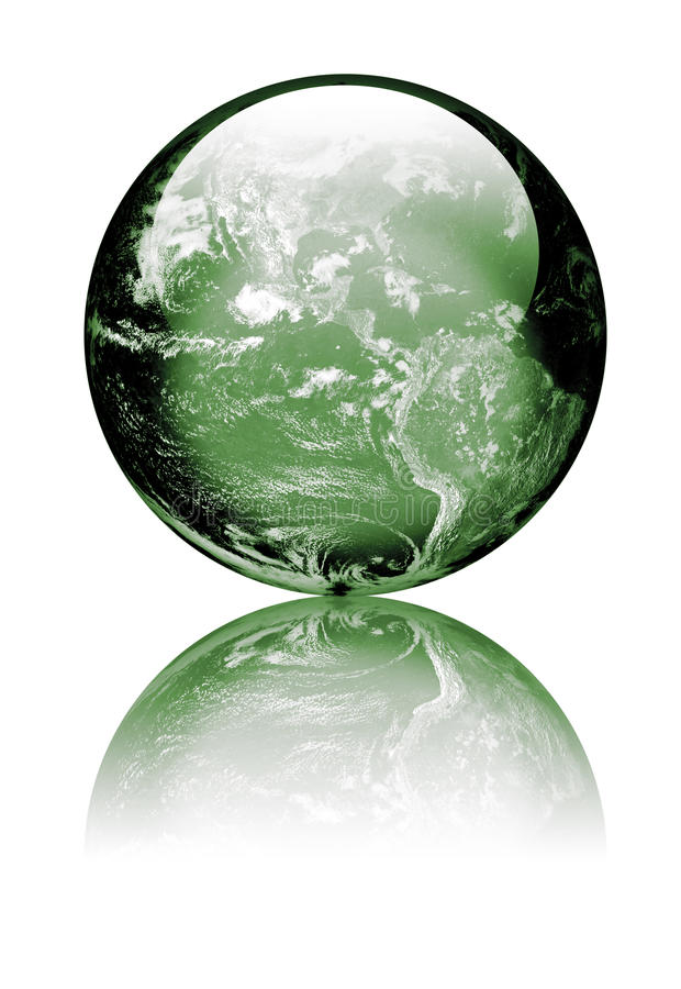 Earth as green glass globe stock photography