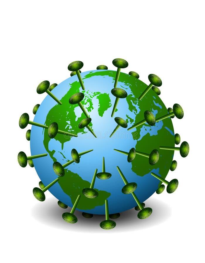 Earth As HIV Aids Virus 2. An illustration featuring the planet Earth as the HIV/AIDS virus isolated on white stock illustration