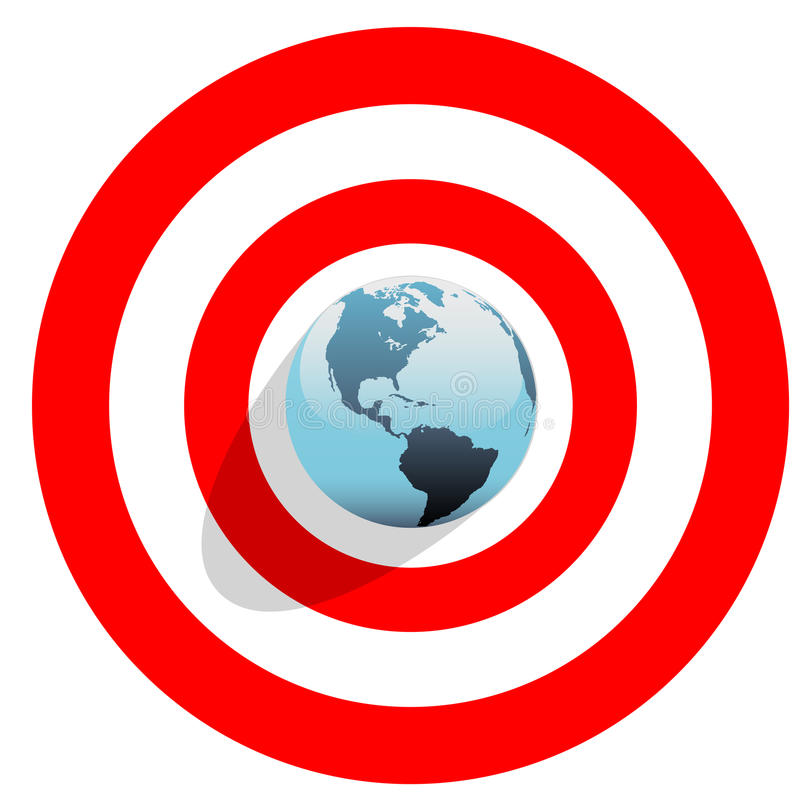 Free Earth At Center Of Bulls Eye On Red World Target Stock Photography - 13811782