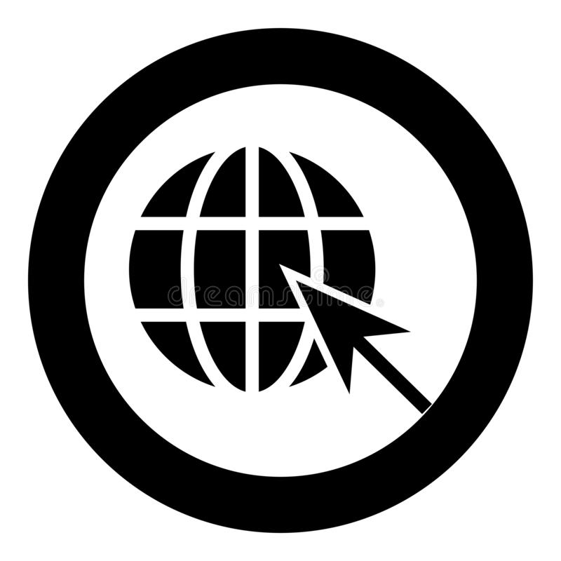 Earth ball and arrow Global web internet concept Sphere and arrow Website symbol icon in circle round black color vector vector illustration