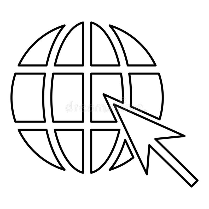 Earth ball and arrow Global web internet concept Sphere and arrow Website symbol icon outline black color vector illustration flat. Style simple image royalty free illustration