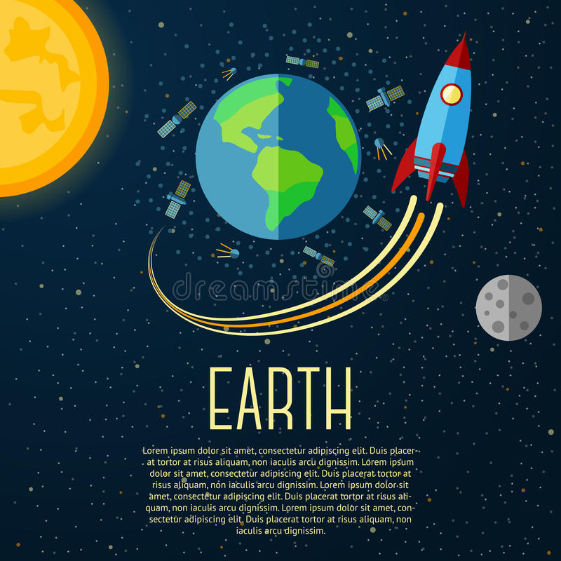 Earth banner with sun, moon, stars and space stock illustration