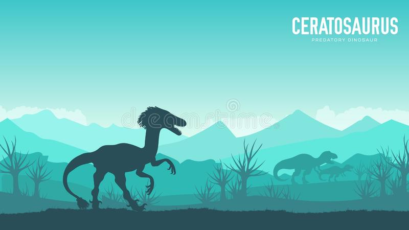 Earth BC landscape scene illustration. Before our era earth design. Silhouette Dinosaur ceratosaurus in its habitat background. royalty free stock photo