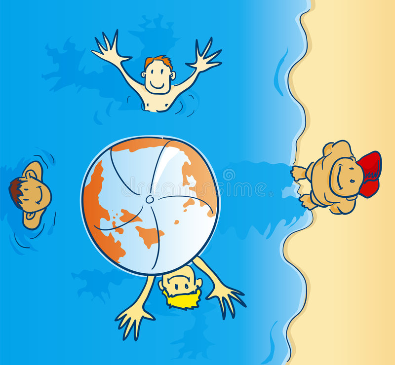 Earth on the beach royalty free illustration