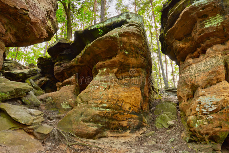 Earth Beauty. The Hell Rocks near Nieklan, Poland stock images