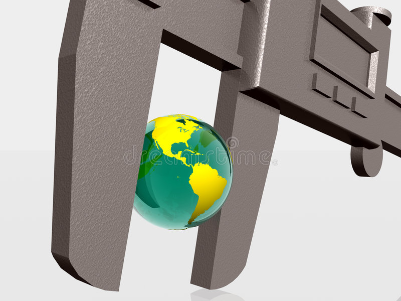 Earth being squeezed with caliper. 3d illustration of Earth squeezed with a caliper, natural sources, business, measurement concept. Clipping path royalty free illustration