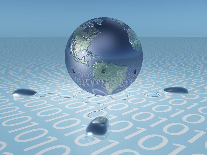 Download Earth With Binary Code And Mice Stock Illustration - Image: 26122777