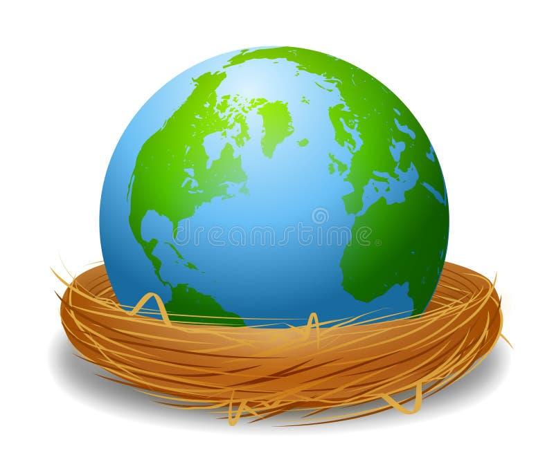 Earth In A Bird's Nest vector illustration