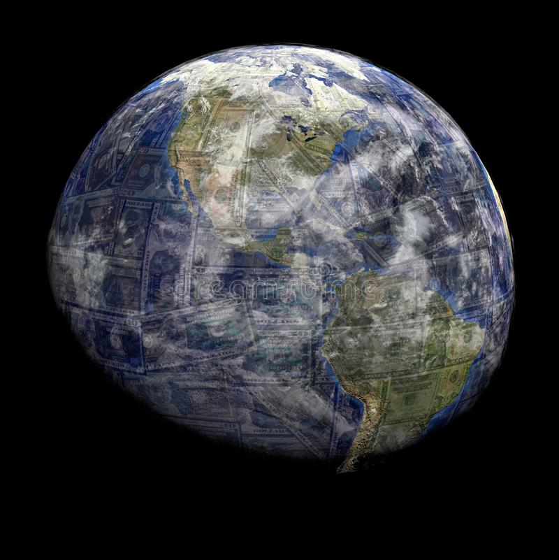 Download Earth Blended Into Dollars Sphere Stock Illustration - Image: 22091279