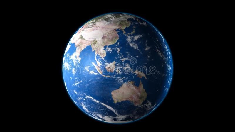 Earth blue planet isolated on black background. 3D render royalty free illustration