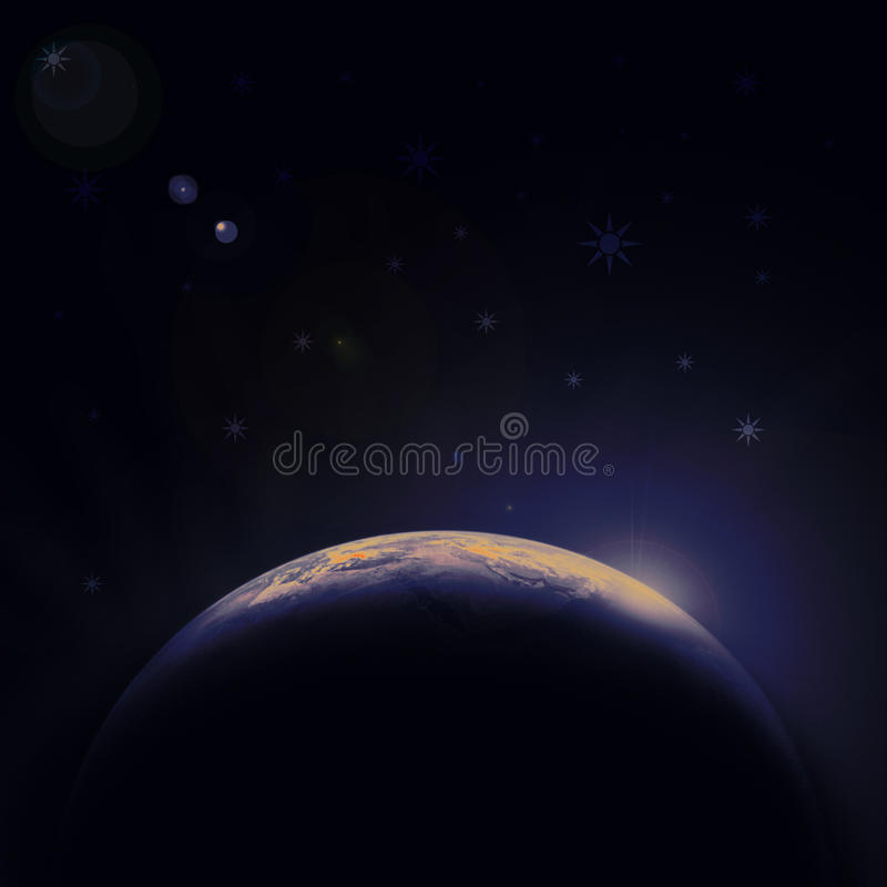 Download Earth Blue Planet In Space With Star Stock Illustration - Image: 13159881