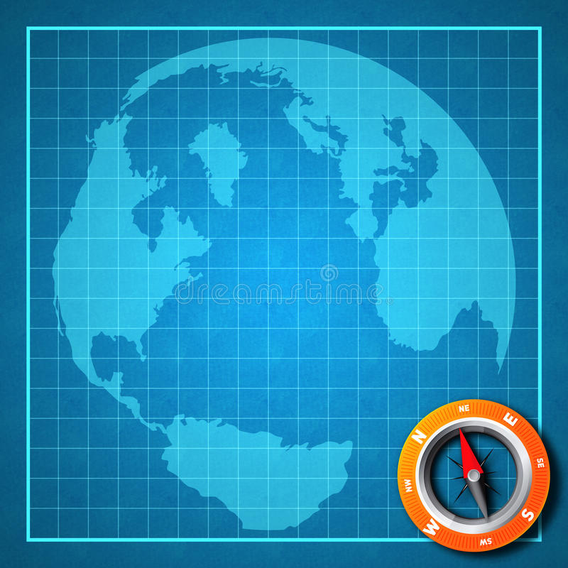 Earth blue print map with compass. Blue print graphic map with continents and compass for directions royalty free stock photos