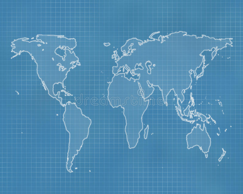 Earth blueprint stock image image of design style construction outline of the world on a blueprint style background malvernweather Choice Image
