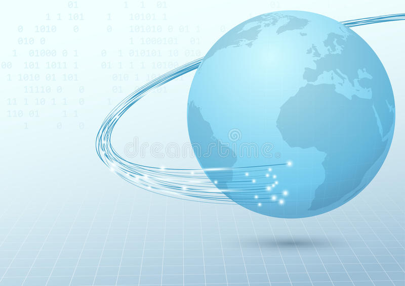 Earth broadband cable connection background royalty free illustration
