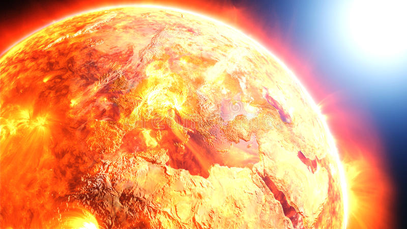 Earth burning or exploding after a global disaster, apocalyptic scenario. (Elements of this 3d rendered image furnished by NASA royalty free illustration
