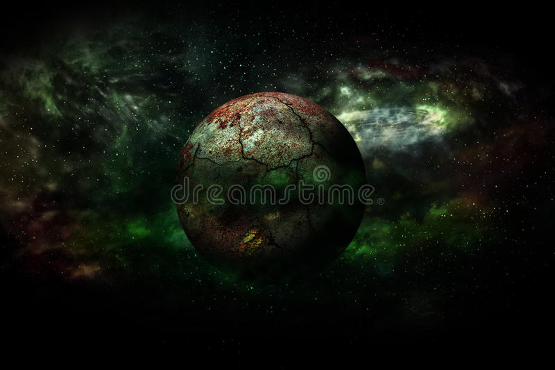 Earth burning after a global disaster (Elements of this 3d rendered image furnished by NASA) stock illustration