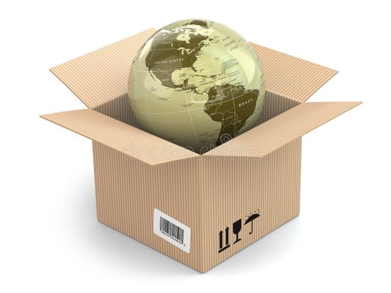 Earth in cardboard box stock illustration