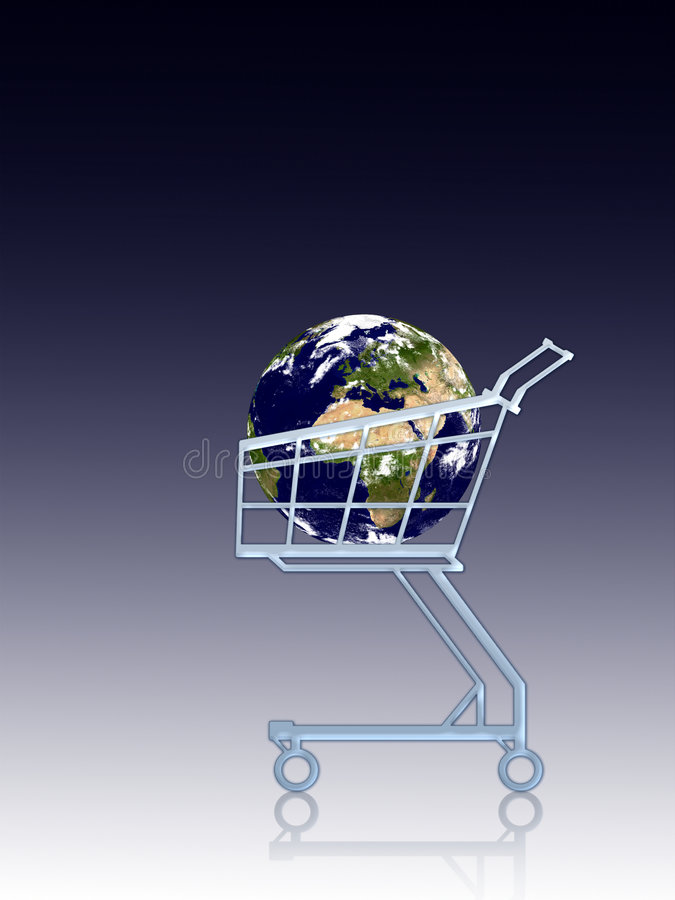 Earth in a cart royalty free illustration