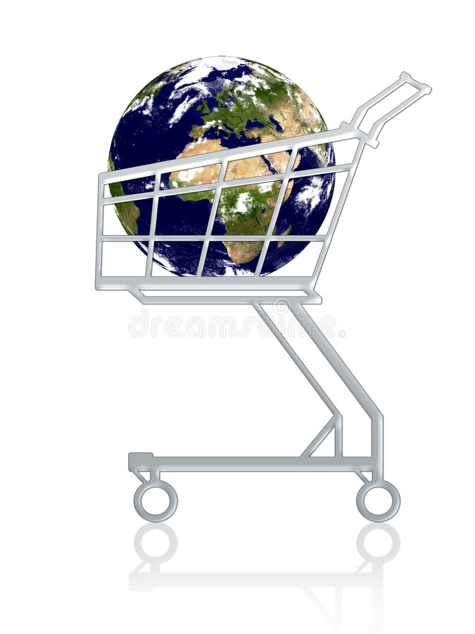 Earth in a cart stock illustration