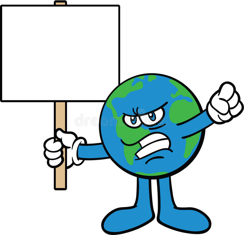 Download Earth Cartoon Mascot Character Protesting Stock Vector - Illustration of planet, world: 13786848