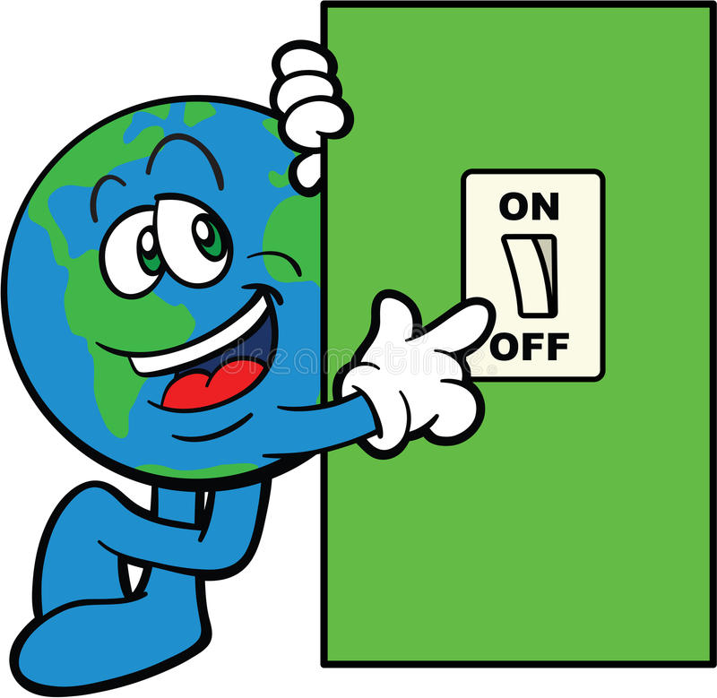 Earth Cartoon Mascot Switch Off stock illustration