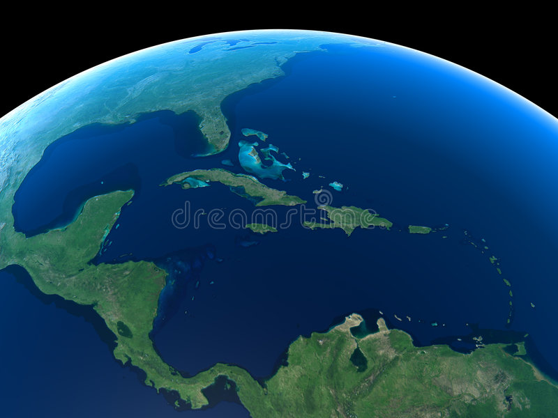 Earth - Central America & Caribbean royalty free illustration