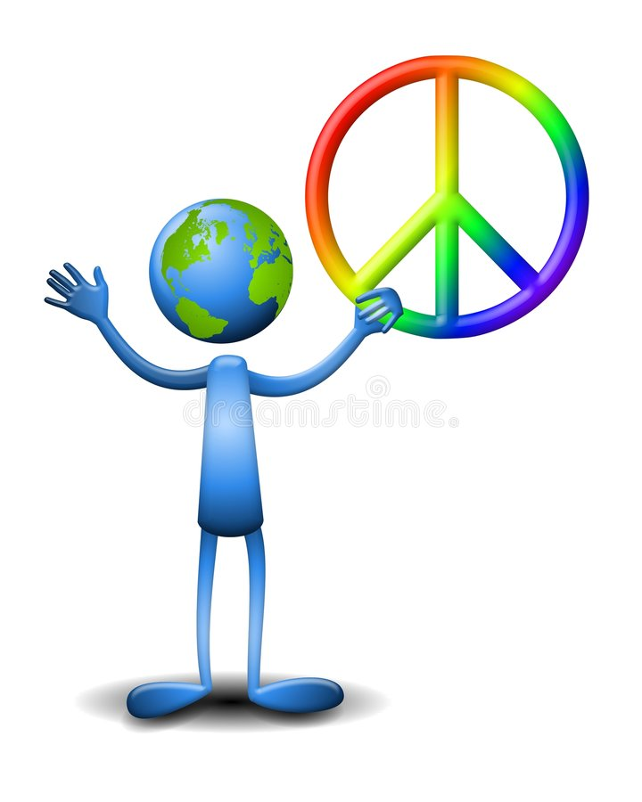 Earth Character Holding Peace Sign stock illustration