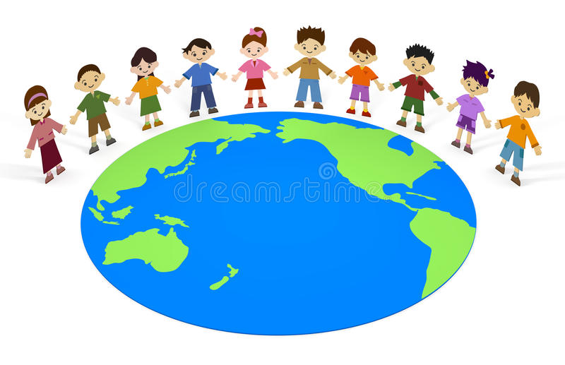 Earth Children. 10 children. I hope a peaceful future. Important comrades. Share the same fate. I hold hands. Boys and girls. I lined up in a row vector illustration