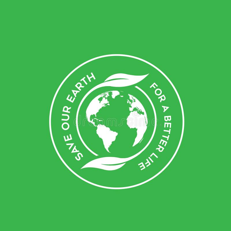 Circle save the earth. Earth circle and leaf with green colours background vector illustration
