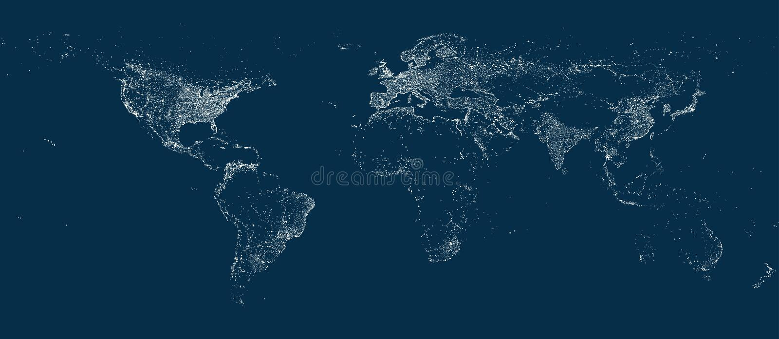Earth' city lights map on the soft dark background vector illustration